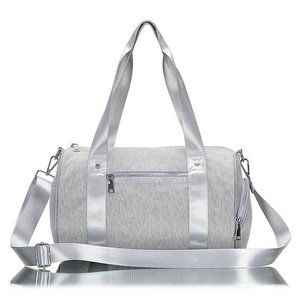 French Terry Knit Duffle Bag Gray Athleisure Gym